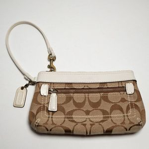 Coach Khaki Signature C Wristlet White Trim